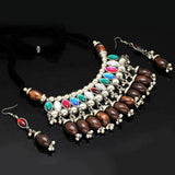 Multicolour Beads Silver Tone Necklace