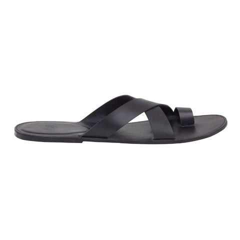 Tuscany Fine Black Men's Leather Sandals