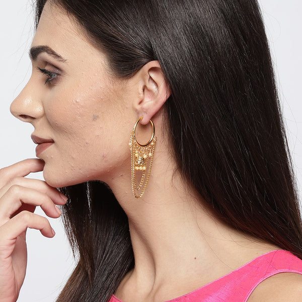 Gold Tone Layered Hoop Earrings with Jhumkas