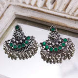 Traditional Silver Tone Earrings with Green Stones