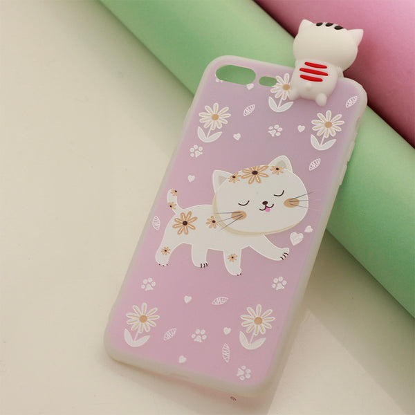 3D Cute Cat Printed Transparent iPhone Cover