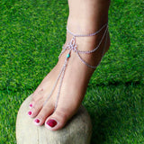 Silver Tribal Layered Chain Toe Ring Anklet