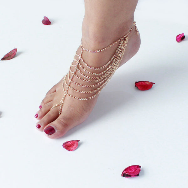 Boho Gypsy Multichain Anklet Toe Ring for Women