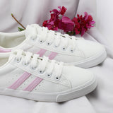 Contrast Stripe Women White Sneakers