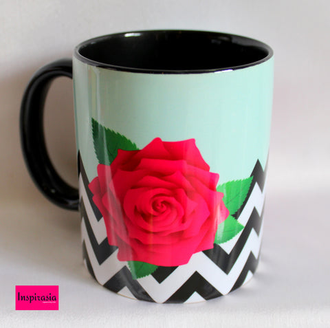 Chevron Rose Print Mugs - Set Of 2