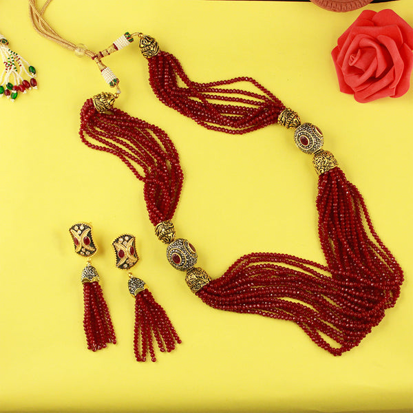 Red Beads Layered Necklace Set