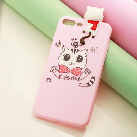 3D Cute Animal Cat Pink iPhone Cover