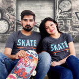 T-Shirt Combo For Couple: Skater Design (Dark Grey)