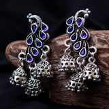 Peacock Earrings With Blue Gemstones