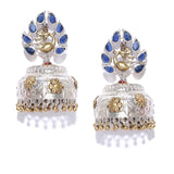 Textured Silver Tone Jhumka Earrings with Blue Stones