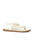 Estatos Faux Leather Flower Decorated Toe White Flat Sandals for Women