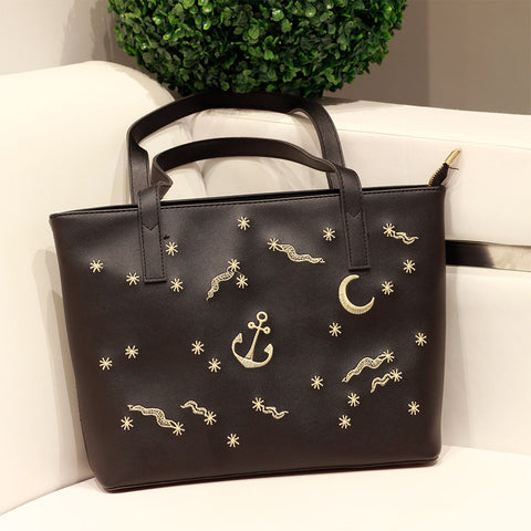 Anchor Embroidered Tote Bag