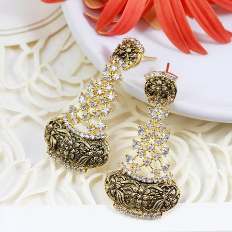 Crystal-Studded Gold Plated Earrings