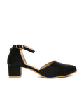 Estatos Broad Toe Black Comfortable Block Heel Buckle Closure Sandals  for Women