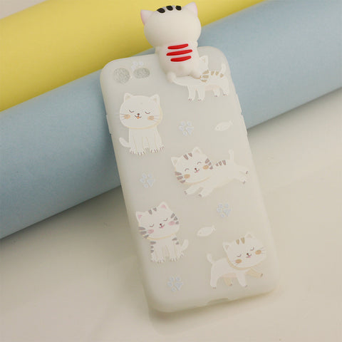 White Cute Cat Printed Phone Cover for iPhone 7