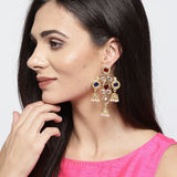 Multicolor Kundan Earrings with Jhumkis