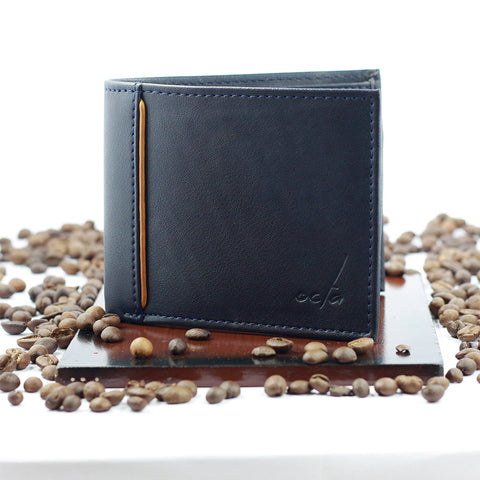 Bi-Fold Blue Wallet with contrast Piping