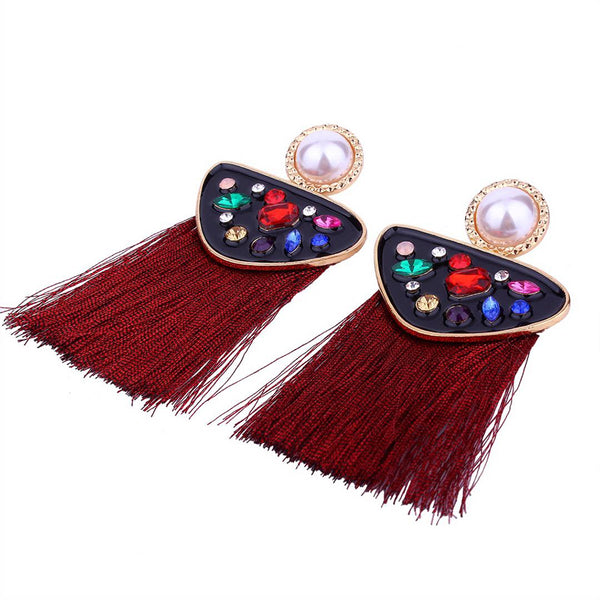 Fringed Earrings with Multi-coloured Stones