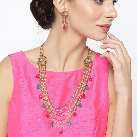 Gold Tone Layered Necklace Set with Multicolor Stones