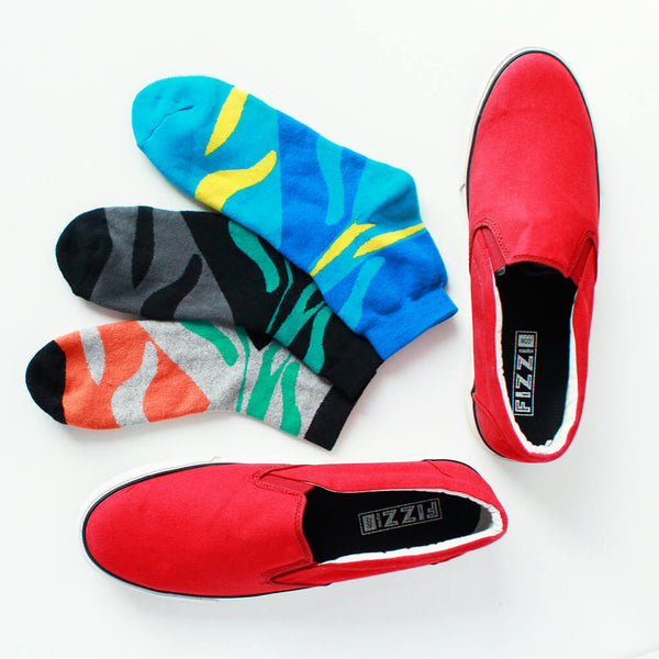 Slip On Sneakers (Red) & Pack of 3 Socks for Men