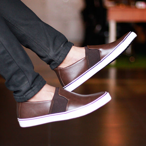 Brown Elastic Gusset Slip on Sneakers