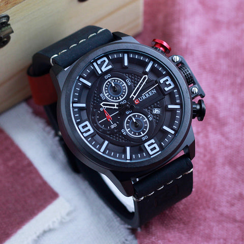 Curren Black Leather Men's Chronograph Watch