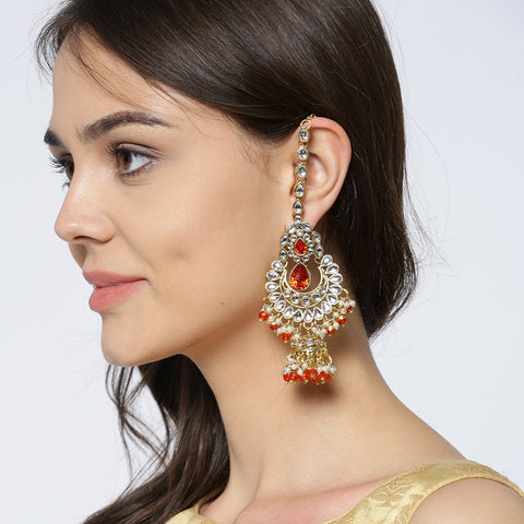 Kundan Studded Orange Coloured Earrings