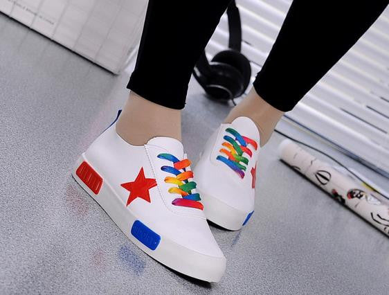 Platform Sneakers: Multicolour on White