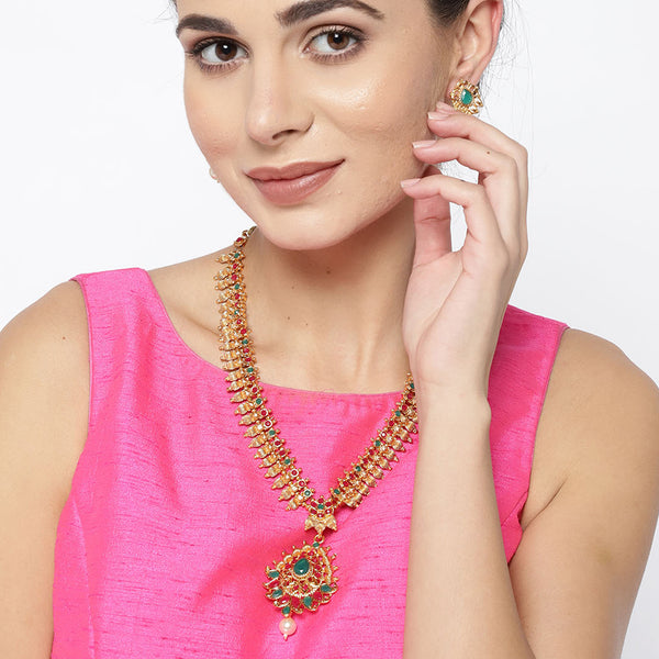 Gold Tone Temple Jewellery Necklace Set