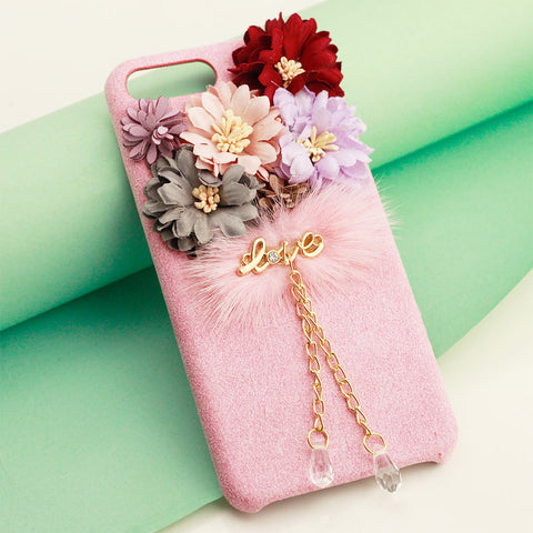 Crystal Pendant Bling Rhinestone Floral Flower iPhone Cover