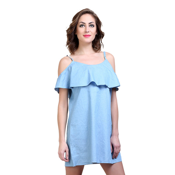 Denim Cold Shoulder Dress