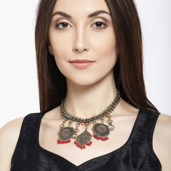 Gold Tone Textured Statement Necklace