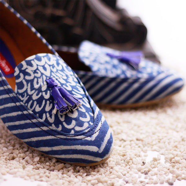 Women's Blue Printed Loafer Shoes with Tassels