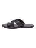 Tuscany Shiny Black Men's Leather Sandals
