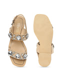 Estatos Suede Beige Twin Strap Buckle Closure Open Toe Flat Sandals