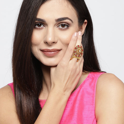 Gold Kundan Ring with Pink Stones