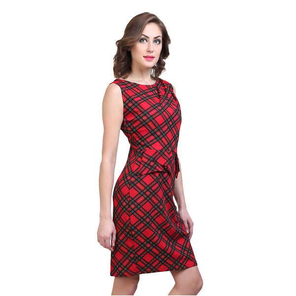 Red Checked Pattern Dress
