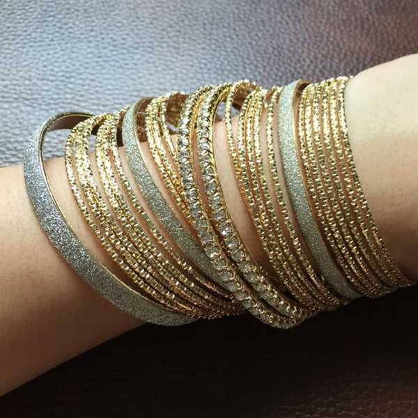 Gold & Silver Tone Crystal Dust Set of 18 Bangles