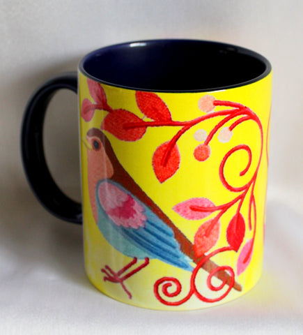 Blue Bird Print Mugs - Set Of 2
