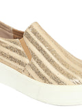 Estatos Sparkly  Leather Broad Toe  Comfortable Platform Heel Beige Sneakers for Women