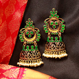 Gold Earrings with Green Gemstones