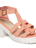 Estatos Faux Leather Block Heel Platform White Sole Strappy Pink Gladiator Sandals for Women