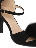 Estatos Suede Black Peep Toe Buckle Closure Ankle Strap Stilettos