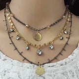 Layered Crystal & Coin Necklace