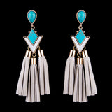 Turquoise Stone & Tassel Statement Earrings