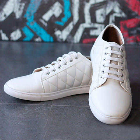 Quilted Solid White Men's Sneakers