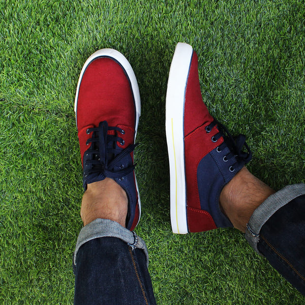 Panelled Canvas Sneakers: Maroon & Blue