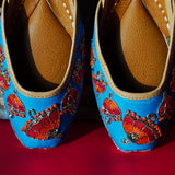 Women Blue Embellished Mojaris