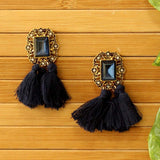 Vintage Gemstone Tassel Earrings