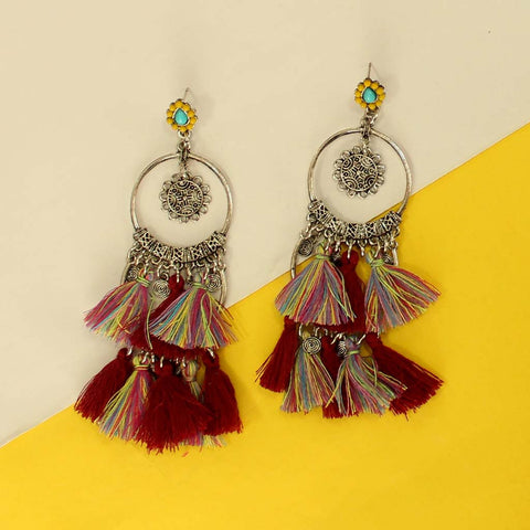 Round Silver Thread Earrings